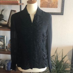Black 100% Silk Ruched Button Down Tuxedo Front